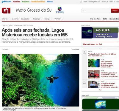 Reabertura da Lagoa Misteriosa ajuda a promover o turismo de Jardim MS